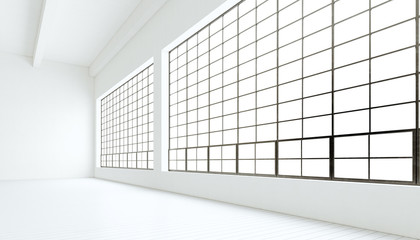 Empty modern industrial expo room huge panoramic windows,painted white wood floor,clean walls.3D rendering.Generic design interior contemporary building.Open space business conference hall.Horizontal.
