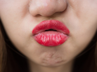 Passionate red lips