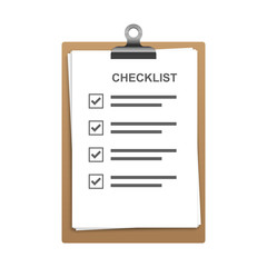 Checklist, Clipboard with checklist. Vector