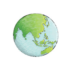 Earth icon hand drawn on white background. Crayon drawing. World map in doodles style. Earth hand drawn retro style.