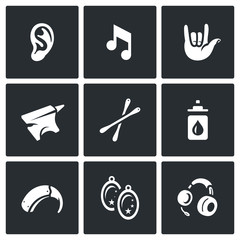 Vector Set of Deafness Icons. Ear, sound, sign language, anvil, cotton swab, boric acid, hearing aid, earring, headphone.