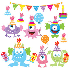 Birthday monster vector illustration