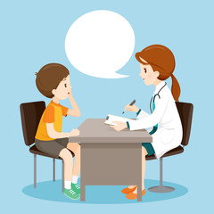 Woman Doctor Ask Boy About Symptoms, Medical, Physician, Hospital, Checkup, Patient, Healthy, Treatment, Personnel