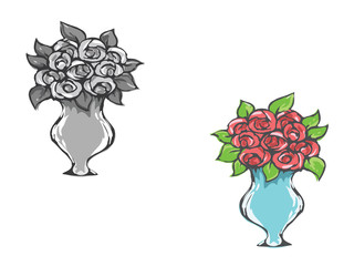 Flowers in pot. Rose. Vector drawing