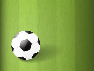 soccer ball on green field with copy space