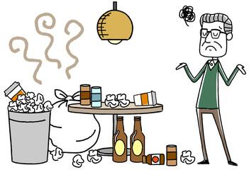 ゴミをかたづけない宿泊客に困るシニア男性
