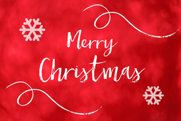 Merry Christmas word on red blur bokeh background