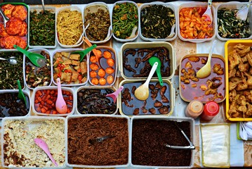Variety of delicious Malaysian local food cuisine sold at street market