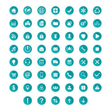 set flat icon circle teal