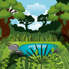 jungle landscape background isolated icon design, vector illustration  graphic