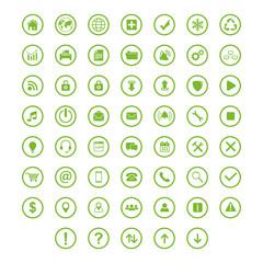 set icon flat with ring circle green