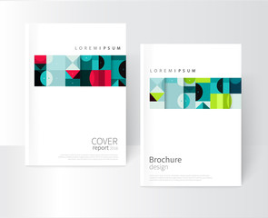 design creative concept cover for book, catalog, report, brochure, poster. Blue, red and green abstract geometric shapes. vector-stock EPS 10