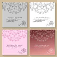 Set of invitation or greeting cards with beautiful floral ornament. Hand drawn vector illustration.