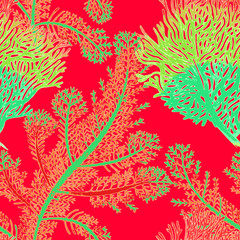 Vector seamless background with corals.