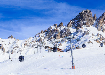 On the slopes of the ski resort of Meribel. France