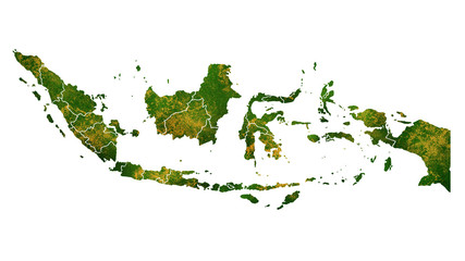 Indonesia country map detailed visualisation