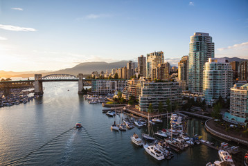 View of Downtown Vancouver and Burrard Bridge at False Creek during sunny sunset. Wall mural