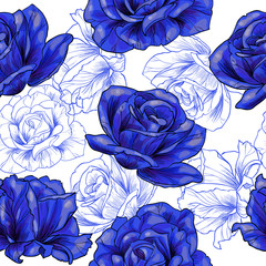 Blue roses .Vector seamless pattern