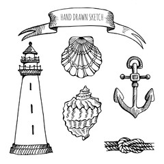Vector set: Seashell, lighthouse, anchor, knot, flag. Hand drawn sketch