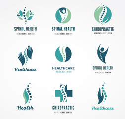 Chiropractic, massage, back pain and osteopathy icons