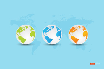 Globe three green, blue, orange on blue background with a map of the world.Vector eps 10
