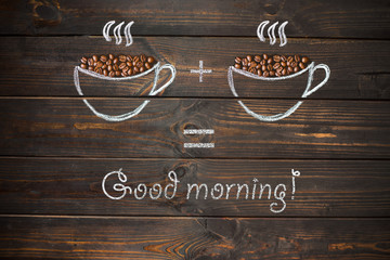 good morning concept - coffee beans, Cup of black coffee