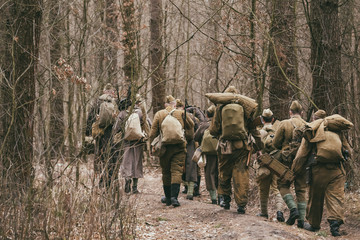 Group Of People Dressed As World War II Russian Soviet Soldiers