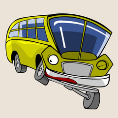cartoon character yellow bus fun winks