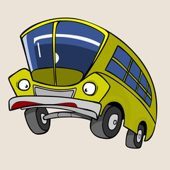 Cartoon Character Yellow Bus surprised