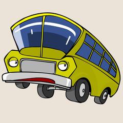 Cartoon Character Yellow Bus
