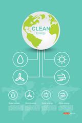 Clean Energy, Vector ecology concept, Concept design, concept with eco, earth, green,energy, Vector eps 10
