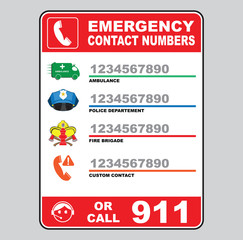emergency call number sign (ambulance, police department, fire brigade, custom number 911)
