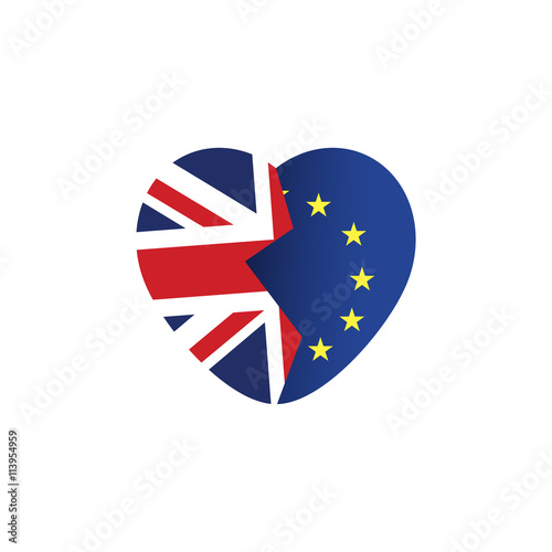 Brexit Icon British Flag Eu Flag Broken Heart Symbol Of Imminent