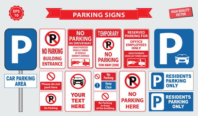 Car Parking Sign (no parking building entrance, tow away zone, car parking area, office employee only, do not park here, residents parking only)