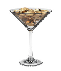 Full transparent drinking glass with dollar coins pile