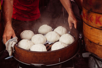 Steamed buns food stall in Chinatown, Kuala Lumpur, Malaysia