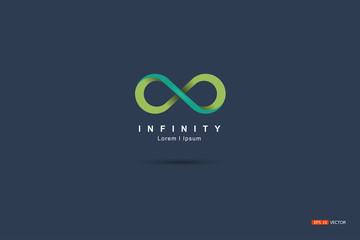 Symbol or mark Infinity Green Floating on a blue background