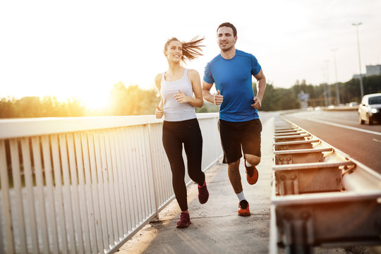 Active couple jogging