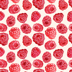 Appetizing watercolor raspberry, hand drawn illustration, seamless pattern.