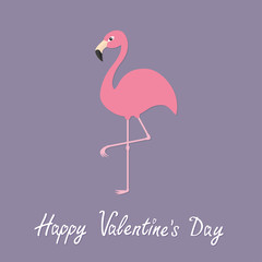 Pink flamingo standing on one leg. Exotic tropical bird. Zoo animal collection. Cute cartoon character. Happy Valentines day. Love greeting card. Decoration element. Flat design. Violet background.