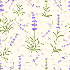 Wall Mural - Lavender seamless vector pattern for fabric, paper