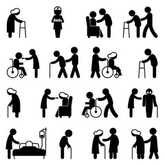 Disability people nursing and disabled health care icons