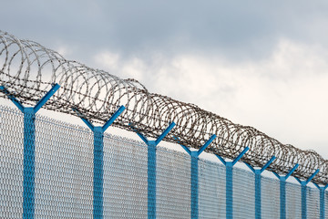 Barbed wire fence of restricted area