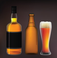 whiskey and bottle of beer with a glass