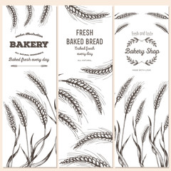 Hand drawn bread vertical banners. Banner set. Vector illustration in sketch style.