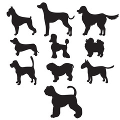 Set of black silhouettes cartoon dog breeds