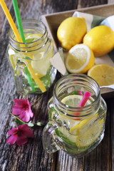 Cool refreshing drink: ice, lemon and mint