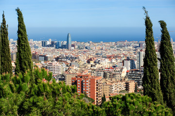 Panorama of Barcelona seen from viewpoint near from Park Güell.