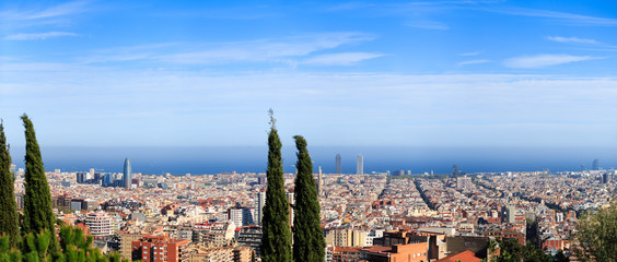 Panoramic view Barcelona with some trees in foreground.
