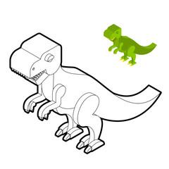 Tyrannosaurus coloring book. Dinosaur isometric style. Prehistor